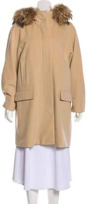 Max Mara Weekend Fur-Trimmed Wool Coat