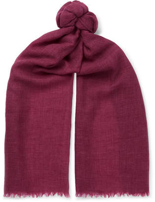 Brunello Cucinelli Cashmere and Cotton-Blend Scarf - Men - Burgundy