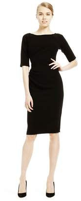 Lela Rose 3/4 Sleeve Side Ruched Dress