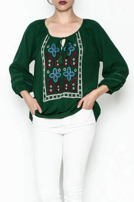 Jade Paisley Embroderied Top