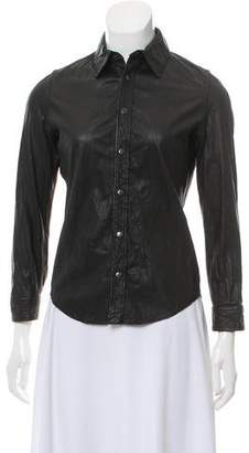 Gryphon Collared Leather Top