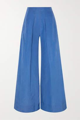 Cult Gaia Jordana Pleated Taffeta Wide-leg Pants - Azure