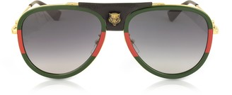 Gucci GG0062S Aviator Gold Metal and Black Leather Sunglasses