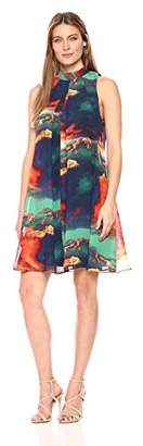 Robbie Bee Women's Watercolor Printed Chiffon Mock Neck Trapeze Sleelvess Dress