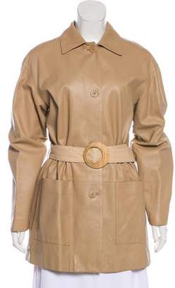 Giuliana Teso Belted Leather Coat