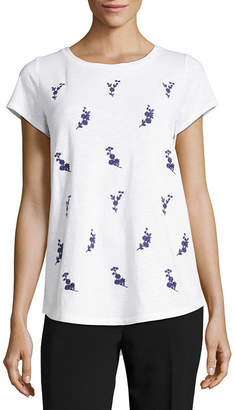 Liz Claiborne Short Sleeve Embroidered Blouse- Tall