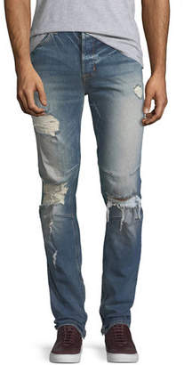 Hudson Men's Vaughn Skinny Ankle-Zip Destructed Jeans