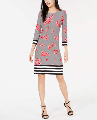 Calvin Klein Mixed-Stripe Printed Shift Dress
