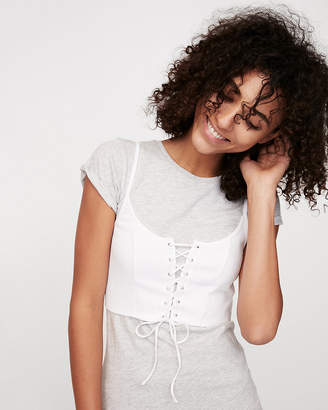 Express Two-In-One Modern Rib Lace-Up Corset Top