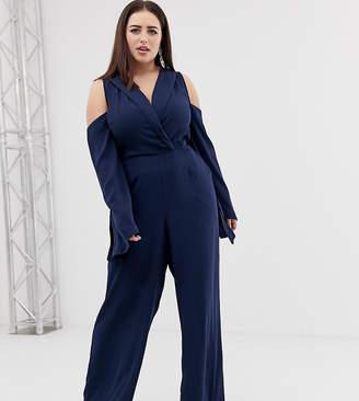 8284101d9e Asos clean tux cold shoulder tie waist jumpsuit