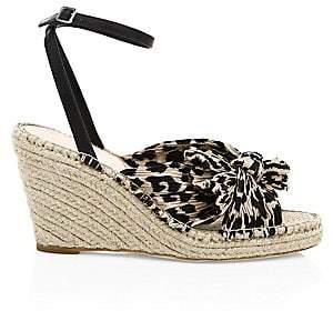 Loeffler Randall Women's Charley Knotted Animal Print Wedge Sandals