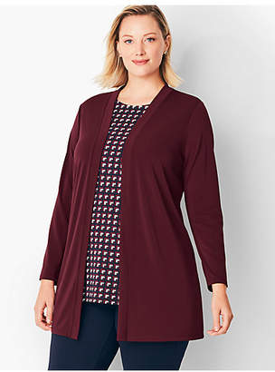 Talbots Plus Size Exclusive Knit Jersey Open Cardigan