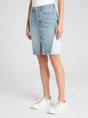 Gap High Rise Denim Skirt with Pieced Detail