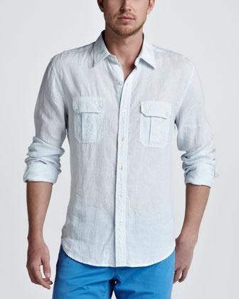 Vince Two-Pocket Striped Linen Shirt