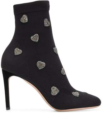 Valentino heart embroidered ankle boots