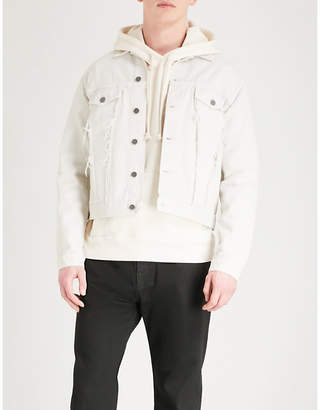 424 Distressed denim trucker jacket