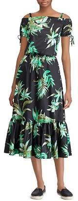 Ralph Lauren Cotton Sateen Off-The-Shoulder Dress