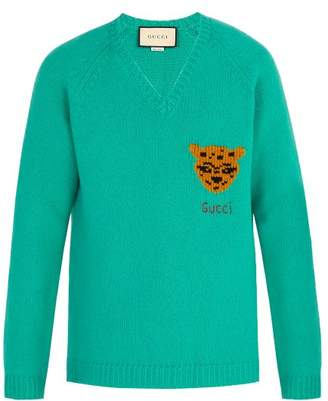 Gucci V Neck Tiger Intarsia Wool Sweater - Mens - Blue