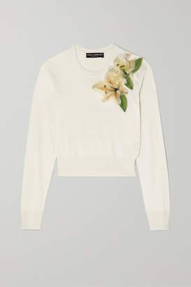Dolce & Gabbana Embellished Appliquéd Silk Sweater - White