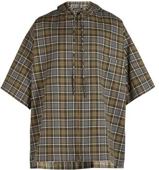 Balenciaga Hooded Short Sleeved Plaid Shirt - Mens - Grey
