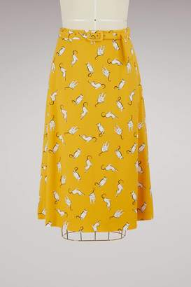 Miu Miu Cats print skirt