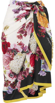 Dolce   Gabbana Floral-print Cotton-voile Pareo - White 0f94a4a56