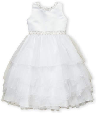 Joan Calabrese For Mon Cheri (Girls 7-16) Jeweled Neck Tiered Dress