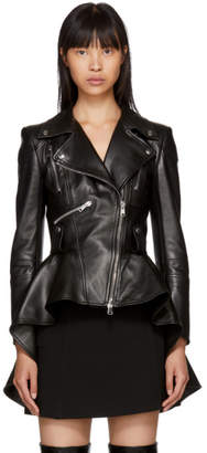 Alexander McQueen Black Leather Peplum Biker Jacket