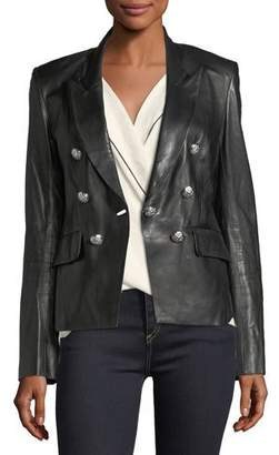 Veronica Beard Cooke Peak-Lapel Leather Jacket
