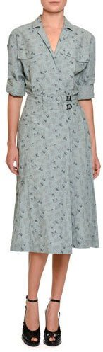 Bottega Veneta Bottega Veneta Butterfly-Print Belted Midi Shirtdress, Blue