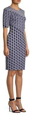 St. John Swirl Jacquard-Knit Sheath Dress