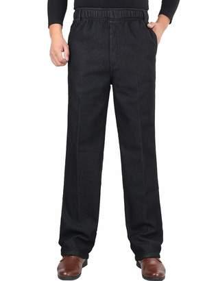 Zoulee Men's Full Elastic Waist Denim Pull On Jeans Straight Trousers Pants L