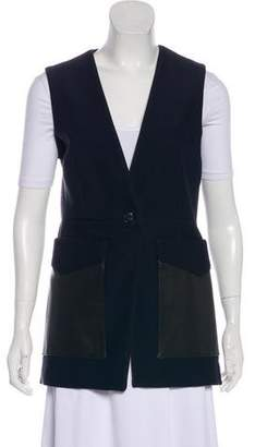 Rag & Bone Leather-Trimmed Woven Vest