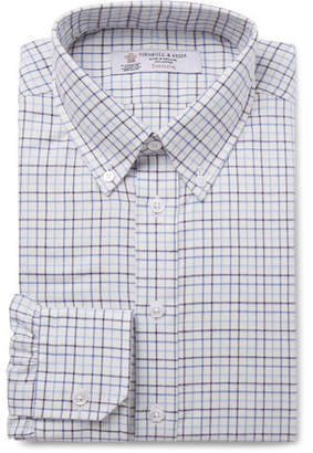 Turnbull & Asser Blue Button-Down Collar Checked Cotton-Twill Shirt