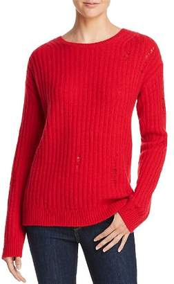 Aqua Rib-Knit Distressed Cashmere Sweater - 100% Exclusive
