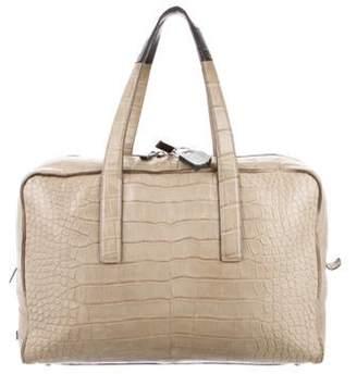 Calvin Klein Collection Crocodile Weekender Travel Bag beige Crocodile Weekender Travel Bag