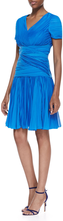 Halston Short-Sleeve Pleated A-line Dress, Aquamarine