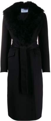 Prada furry collar single-breasted coat