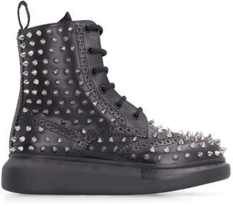 Alexander McQueen Pebbled Leather Brogue Boots