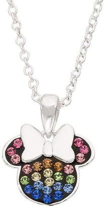 Disney Womens Multi Color Crystal Sterling Silver Minnie Mouse Pendant Necklace