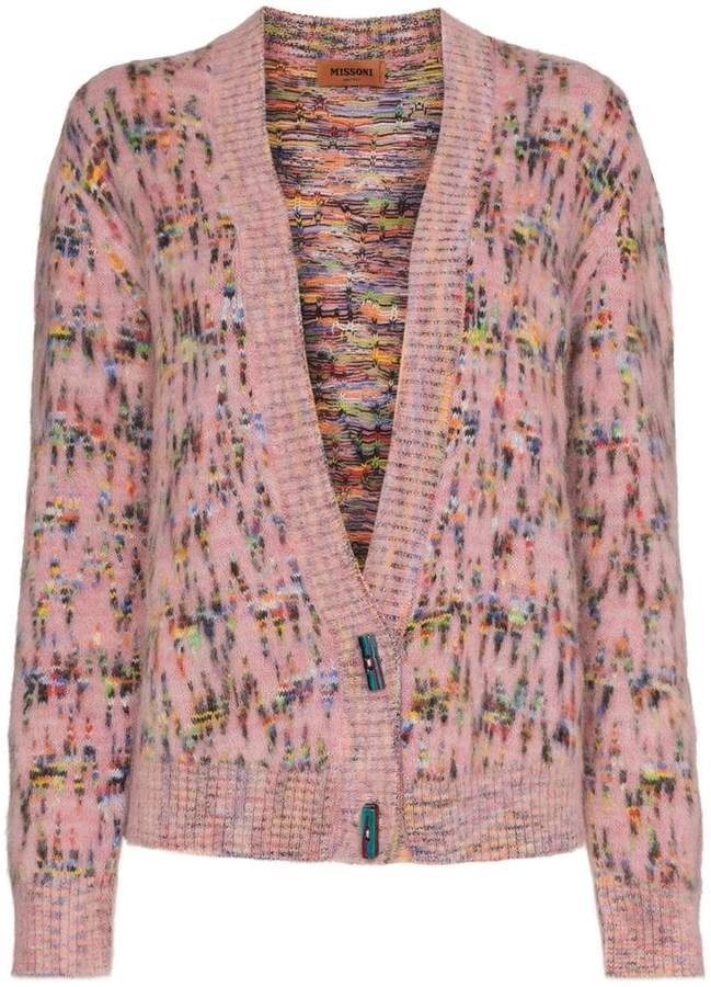 Knitted mohair wool cardigan