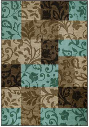 Blue Area Maples Highland Louise Scroll Block Rug