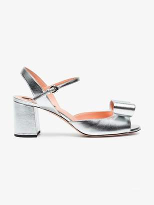 Rochas Silver bow 70 Leather sandals