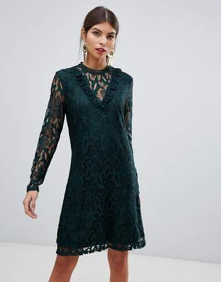 Vila Lace Frill Neck Dress