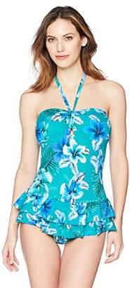 Coastal Blue Women's Control Swimwear Ruffle Front One Piece Swim Dress