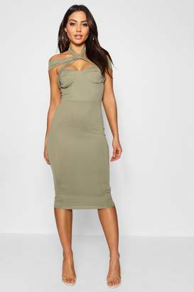 boohoo Rita Strappy Top Detail Midi Bodycon Dress
