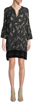 Johnny Was 3/4-Sleeve Mixed-Media Leaf-Print Dress with Velvet Hem