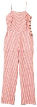 MANGO Linen-blend striped jumpsuit