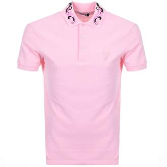 Versace Collar Polo T Shirt Pink