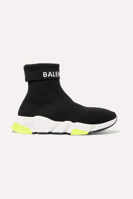 Balenciaga Speed Logo-intarsia Stretch-knit High-top Sneakers - Black